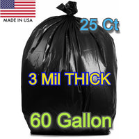 25 Ct 60 Gallons Commercial Trash Can Bags Garbage Heavy Duty Liner 3 Mil Black - Shipare