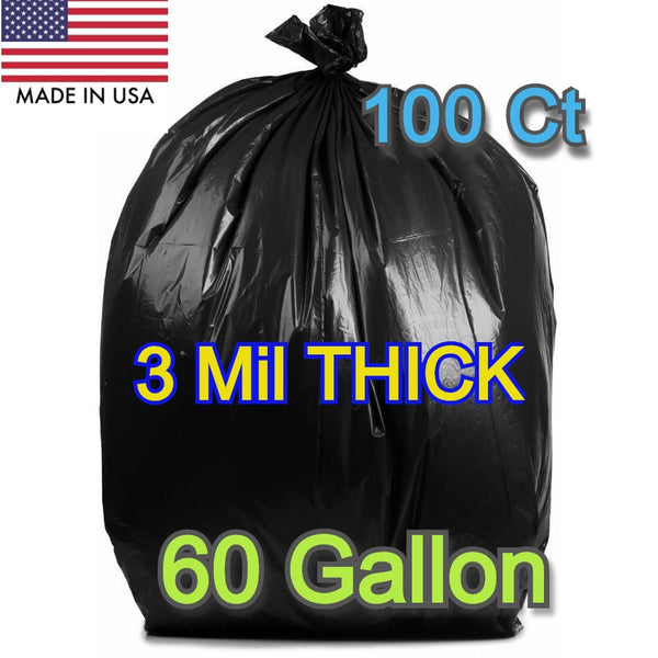 100 Ct 60 Gallons Commercial Trash Can Bags Garbage Heavy Duty Liner 3 Mil Black - Shipare