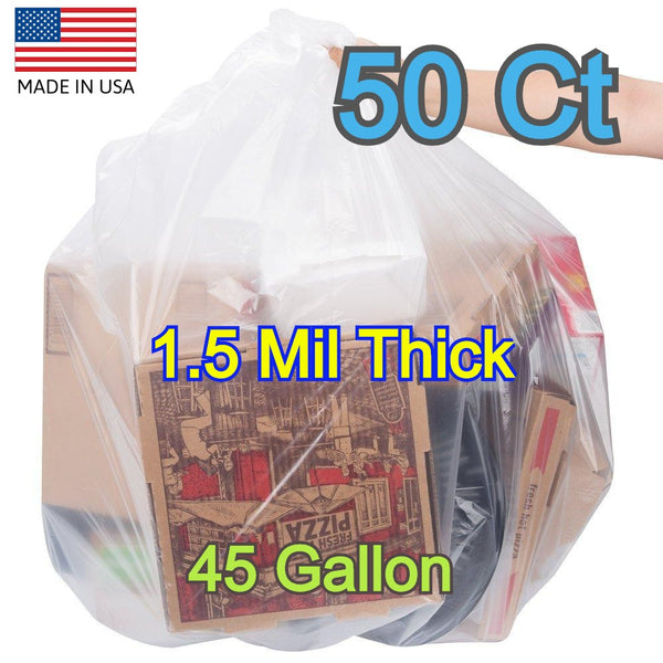 50 Ct 40-45 Gallons Commercial Trash Can Bags Garbage Heavy Duty Liner 1.5 Mil Clear - Shipare