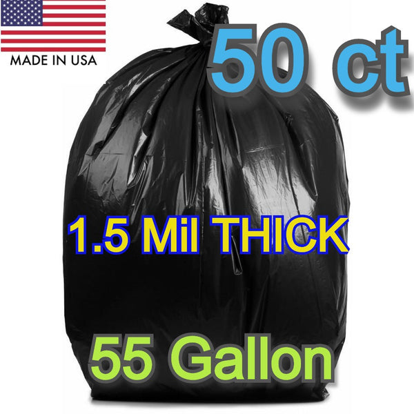 50 Ct 55-60 Gallons Commercial Trash Can Bags Garbage Heavy Duty Liner 1.5 Mil Black - Shipare