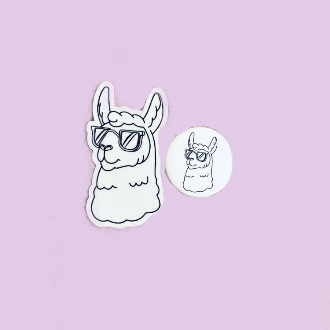 Lounging Llama Sticker and Button Pack