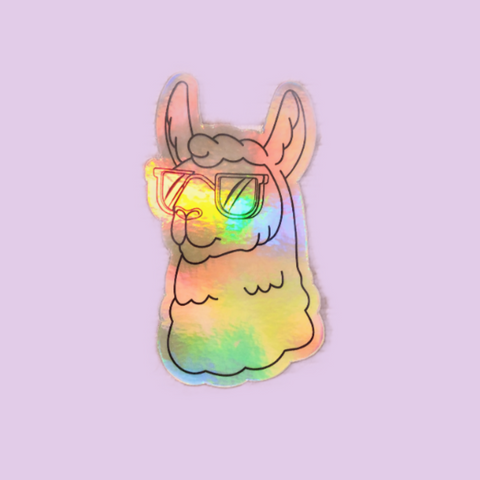 Larry the Llama Holographic Sticker