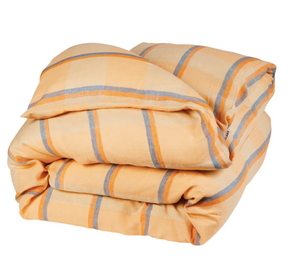 Theo Check Linen Quilt Cover Peach- King