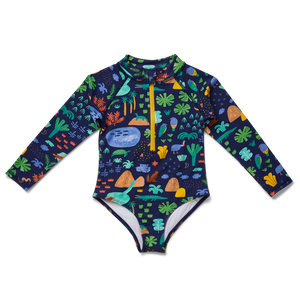 Beach Forest Kids Long Sleeve Zip Bather