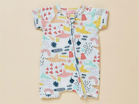 Good Times Swim Team Short Sleeve Zip Romper