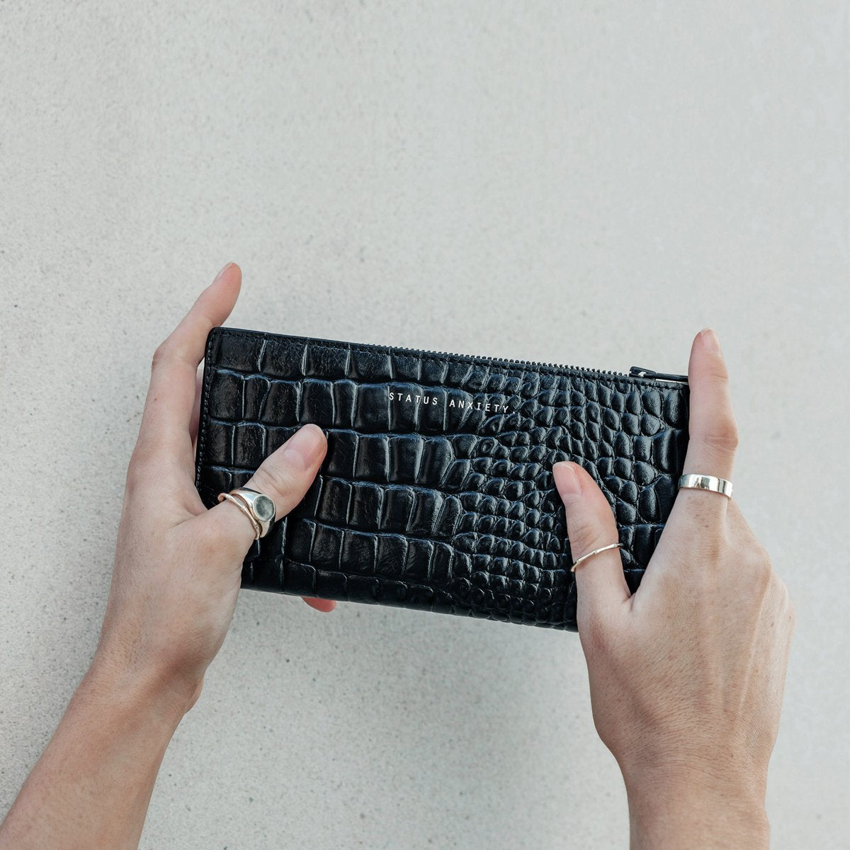 In The Beginning Black Croc Emboss Leather Purse
