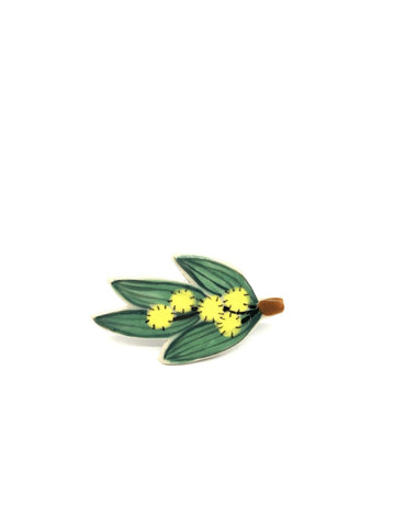 Wattle Sprig Ceramic Brooch