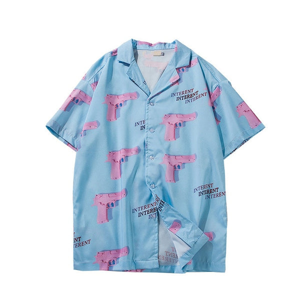 Gun Print Sky Blue Beach Hawaiian Aloha Shirts 2019 New Summer Mens Casual Short Sleeve Shirt Male Fashion Loose Shirts Tops