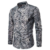 Fashion Autumn New Men Summer Stand Collar Casual Dress Shirt Male Snakeskin Print Long Sleeve Shirts Tops Blouse