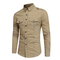 Shirt Men Cotton Solid Long Sleeve Shirt Casual Pockets Chemise Homme Autumn Slim Fit Camisa Masculina Top Shirts