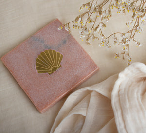 À La | Pink Marble Coaster With Brass Shell