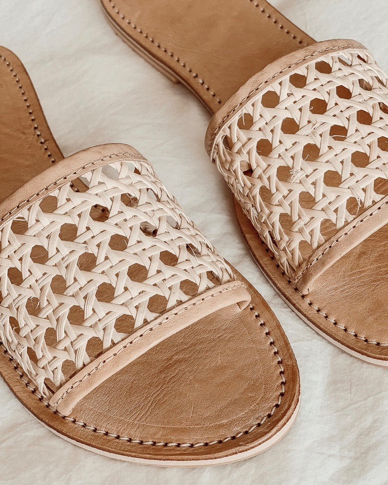 Vegan Rattan Slides