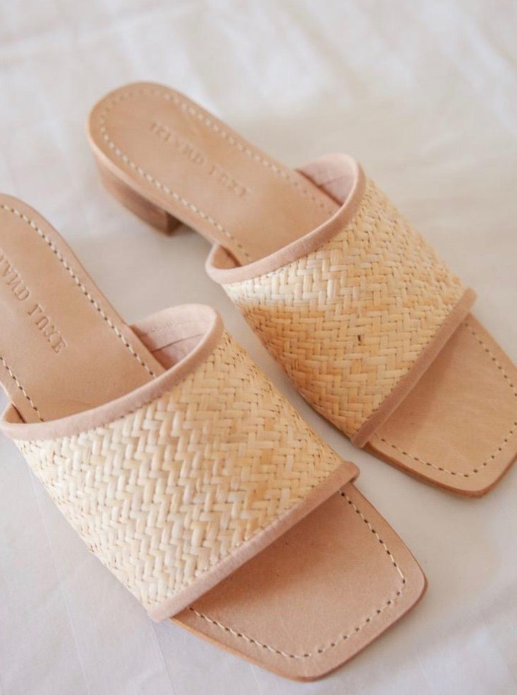 Rattan Shoes Open Toe Mule Heel
