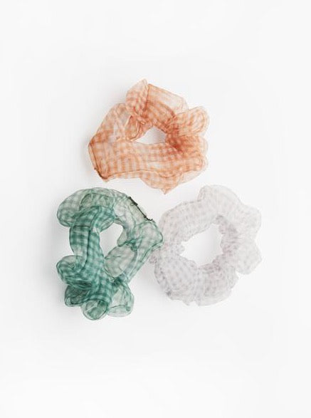 Roxette Scrunchies | Green, Charcoal, and Orange