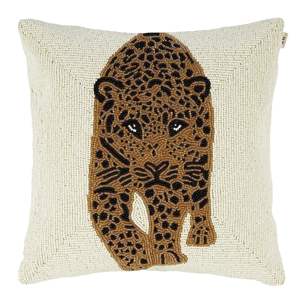 À La | Beaded Leopard Cushion Cover