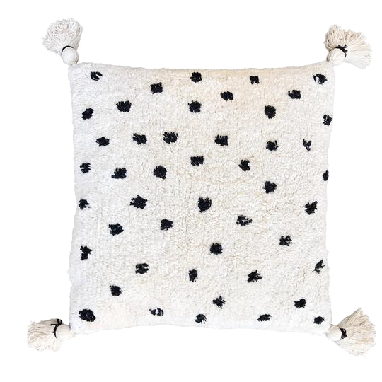 Cotton cushion with tassels - black dot