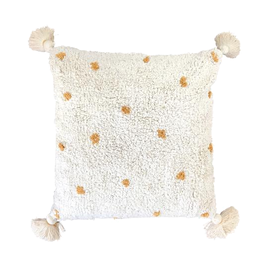Cotton cushion with tassels - mustard dot