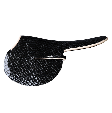 1.5kg Race Saddle Black Croc Print Beige Piping