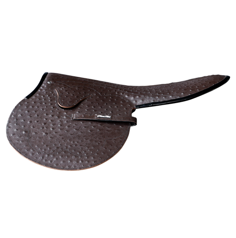 1kg Race Saddle Brown Ostrich Print Black Piping