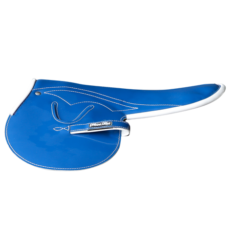 450-500g Race Saddle Blue Patent White Piping