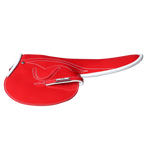 450-500g Race Saddle Red Patent White Piping