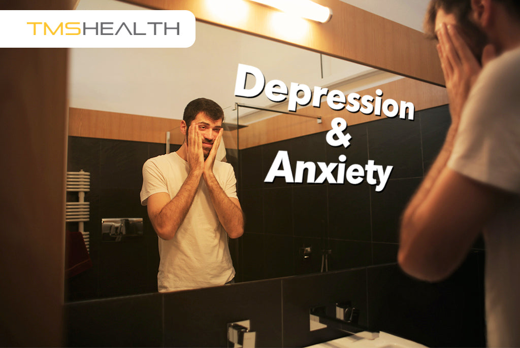 picture of a depressed man looking anxiously into mirror