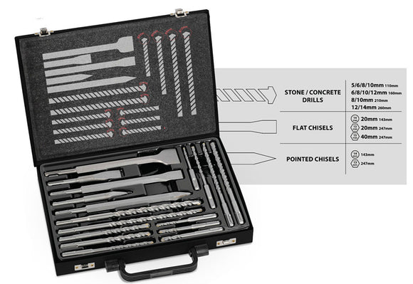 TOOLSTORM 17pc Masonry Drill Bit Chisel Kit SDS Plus Adapter Portable Hammer Tool Set