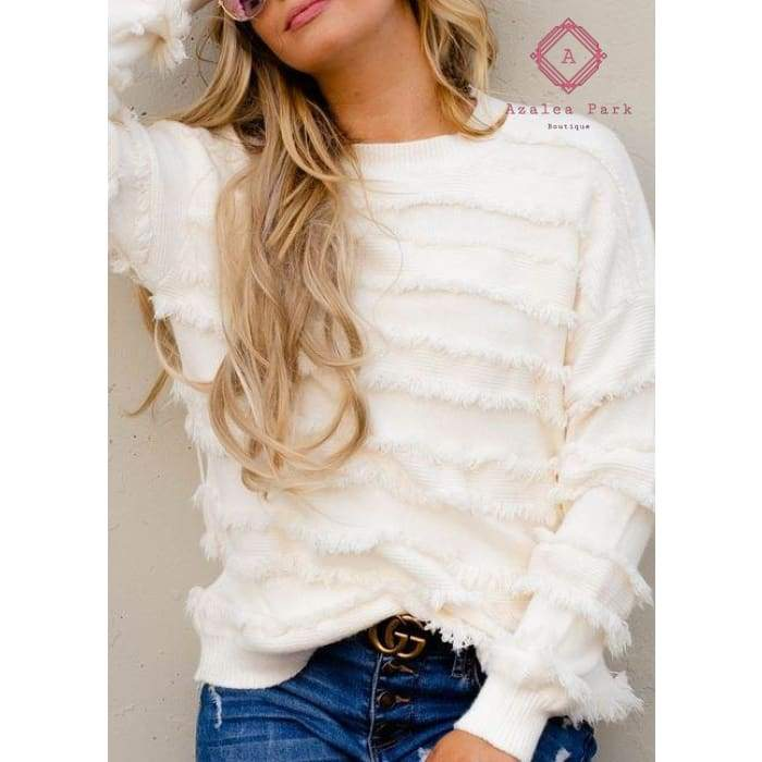 A For Effort Fringe Sweater - Top