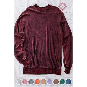 Acid Wash Hoodie - S / Burgundy - Top