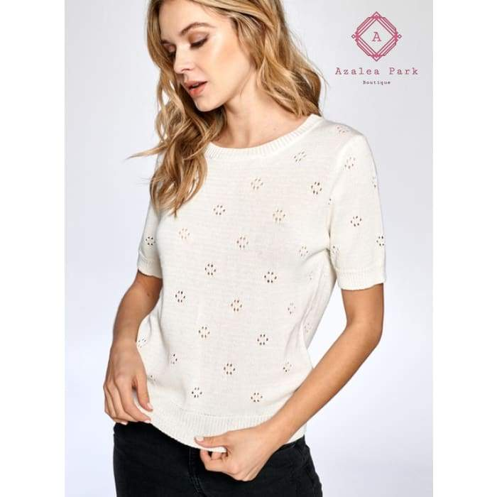 Ainsley Short Sleeve Sweater - Top