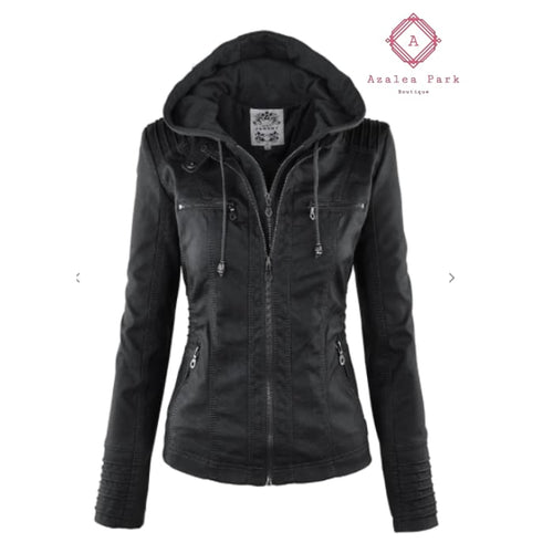Ava's Faux Leather Jacket - Small / Black - Outerwear