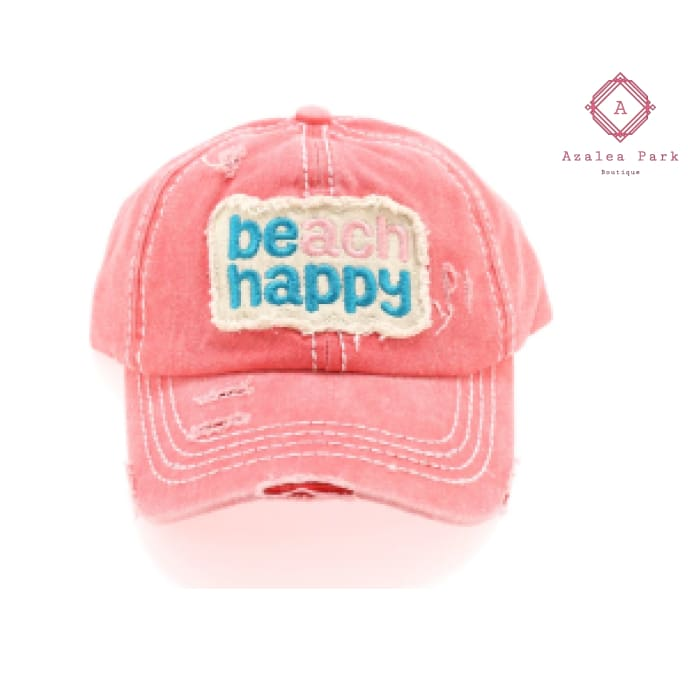 Beach Happy Embroidered High Ponytail CC Ball Cap - Hats & Hair Accessories