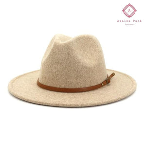 Belted Panama Hat - Beige - Accessories