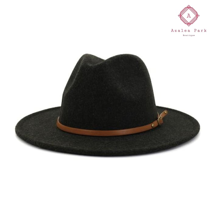 Belted Panama Hat - Black - Accessories