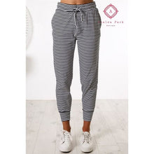 Load image into Gallery viewer, Black & White Striped Jogger - Bottoms