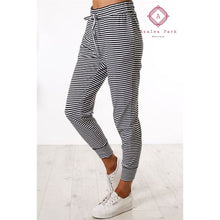 Load image into Gallery viewer, Black & White Striped Jogger - S - Bottoms