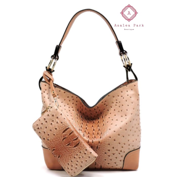 Blush Ostrich Embossed 2-in-1 Bucket Bag - Bags & Purses