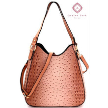 Load image into Gallery viewer, Blush Ostrich Print 2-Way Hobo - Bags & Purses