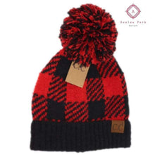 Load image into Gallery viewer, Buffalo Print Jacquard Knit Pom Beanie - Red / Black - Hats & Hair Accessories