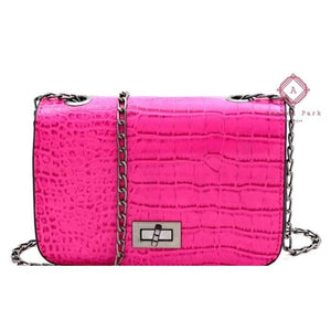 Callies Crocodile Cross Body Purse - Fuchsia - Bags & Purses