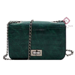 Callies Crocodile Cross Body Purse - Green - Bags & Purses