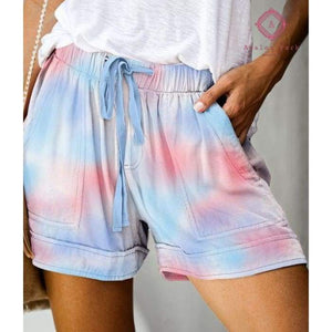 PRE-ORDER Casual Pocket Drawstring Shorts - S / Tie Dye - Bottoms