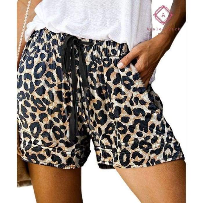 PRE-ORDER Casual Pocket Drawstring Shorts - S / Leopard - Bottoms
