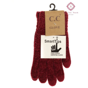 CC Chenille Gloves - Burgundy - Gloves