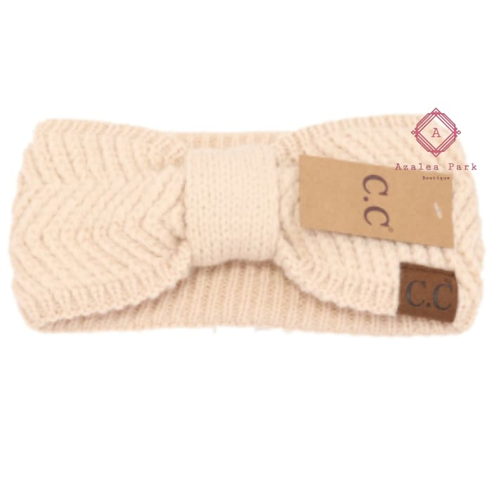 CC Chevron Knit Knot Head Wrap - Beige - Hats & Hair Accessories