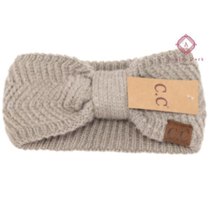 CC Chevron Knit Knot Head Wrap - Warm Grey - Hats & Hair Accessories