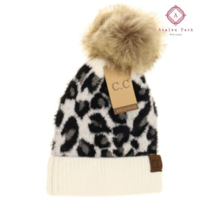 CC Leopard Pom Beanie - Ivory - Hats & Hair Accessories