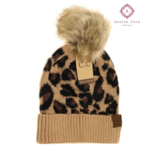 CC Leopard Pom Beanie - Latte - Hats & Hair Accessories