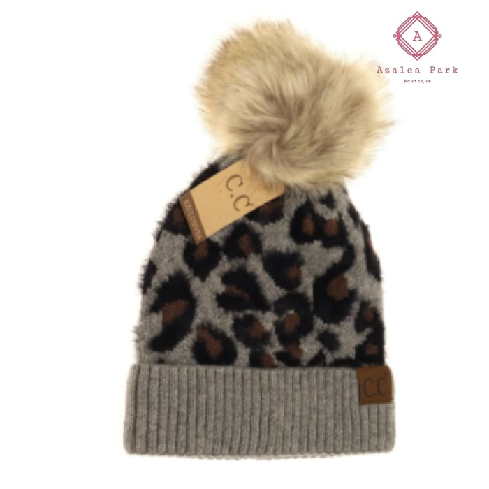 CC Leopard Pom Beanie - Lt. Grey - Hats & Hair Accessories
