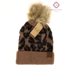 Load image into Gallery viewer, CC Leopard Pom Beanie - Mocha - Hats & Hair Accessories